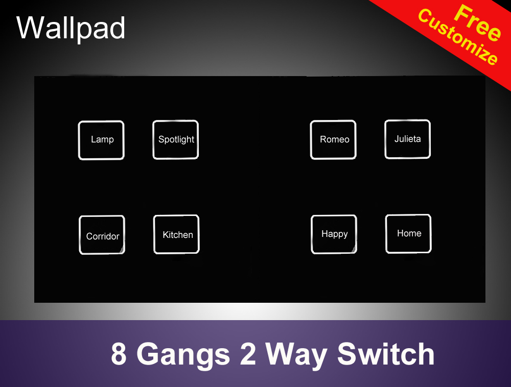 Hot Sales Waterproof 8 gangs 2 way Crystal Black LED Smart touch light switch 172*86mm touch wall switch Free Shipping high quality smart capacitive 2 way touch control wall panel light switch led backlight hot selling free shipping