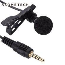 Microfone de lapela com fio, microfone lavalier portátil com clipe para entrada 3.5mm para smartphone iphone e samsung
