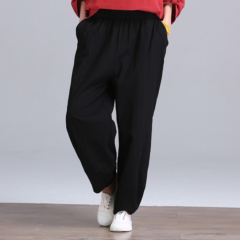 Vindy Store Newest Fashion 2017 Women Cotton Linen Pants Vintage Casual Loose Wide Leg Pants Female Autumn Solid Elastic Waist Trousers