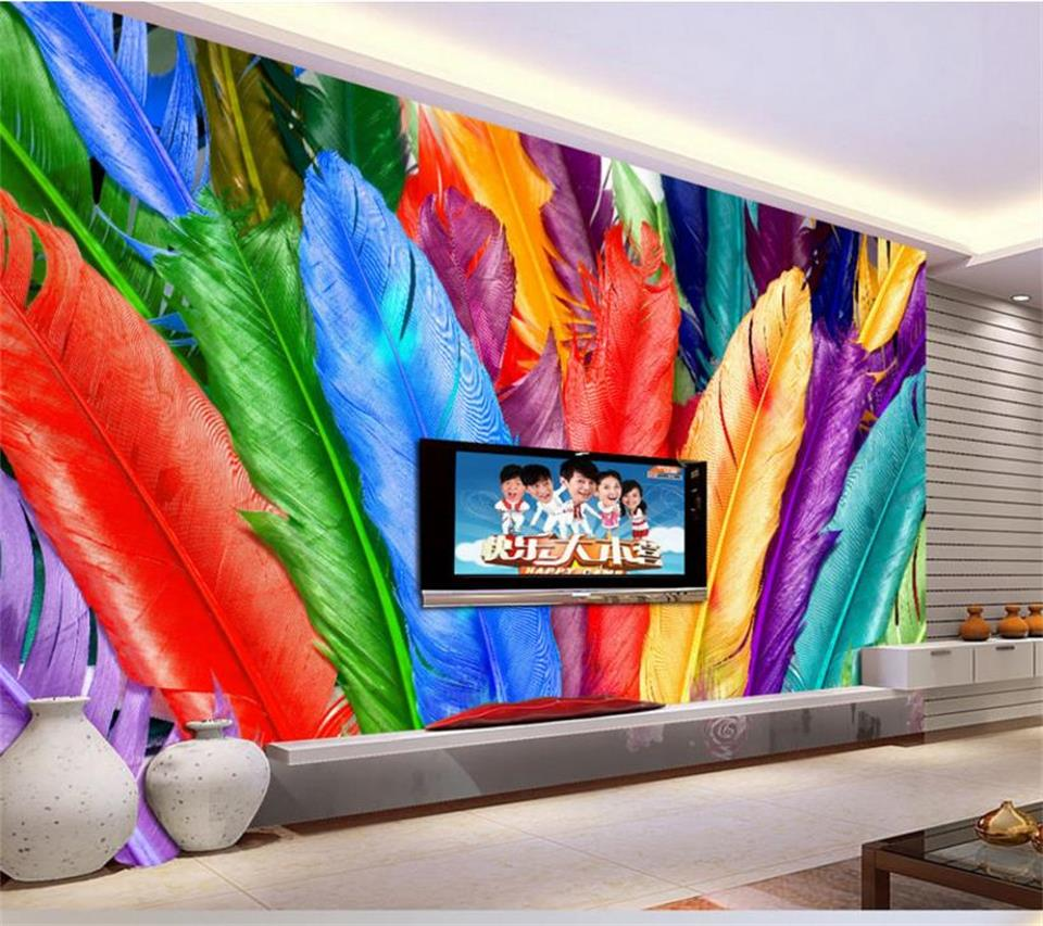 custom size wallpaper 3d photo wallpaper mural living room fashion color feather 3d painting TV background wallpaper for wall 3d xl7215 personalized decorative color feather creative wallpaper