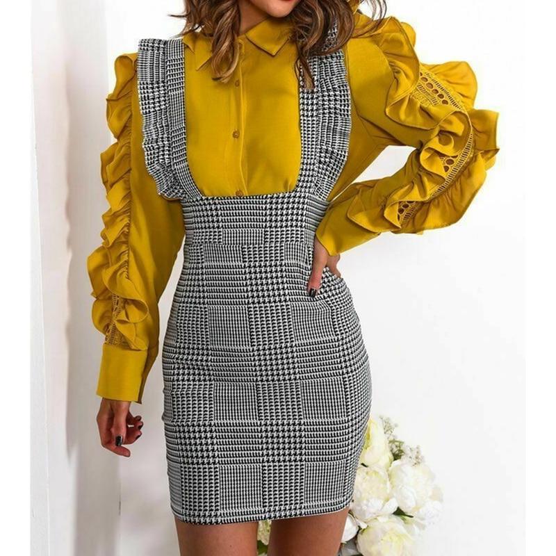 Fashion Women Dress Check Dog Tooth Frill Ruffle Pinafore High Waist Bodycon Party Mini Dress Holiday Casual Slim Dress vestidos 1