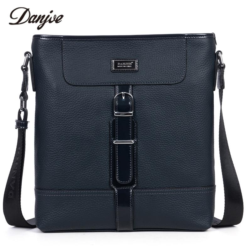 DANJUE Genuine Cow Leather Business Vintage Crossbody Bag Men Messenger Bag Gentleman brand Fashion shoulder Bags dark Blue Bag