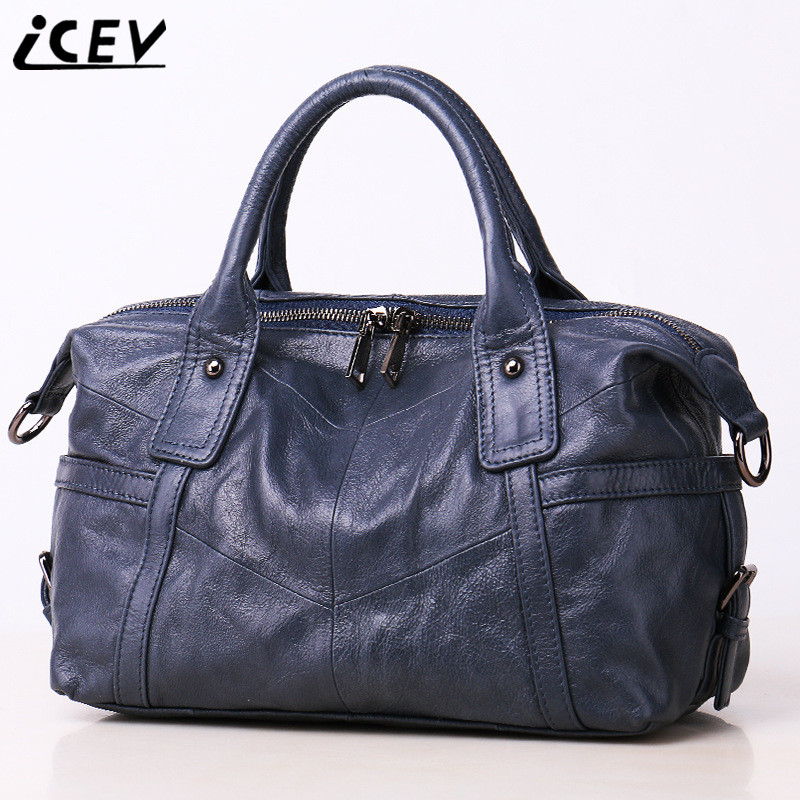 ICEV New Simple Cow Women Leather Handbags Designer Handbags High Quality Genuine Leather Handbags Patchwork Female Cowhide Bags icev new brands simple classic female cow leather designer handbags high quality genuine leather handbags women leather handbags