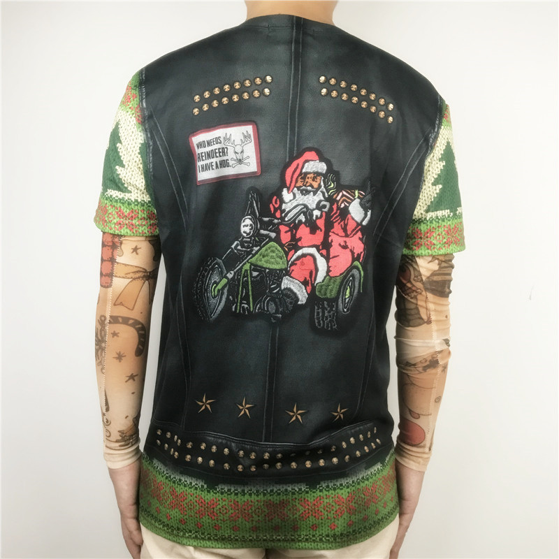 Funny Santa Claus Riding on Moto Printed Ugly Christmas T Shirts for Men and Women Xmas Biker Long Sleeve Tee Plus Size S-2XL 1