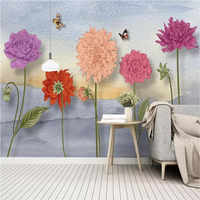 Nordic small fresh hand-painted watercolor cartoon flowers idyllic murals wall manufacturers wholesale wallpaper murals custom p