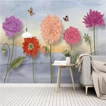 Nordic small fresh hand-painted watercolor cartoon flowers idyllic murals wall manufacturers wholesale wallpaper custom p