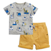 New style high quality cars print cotton boutique kids baby boys clothing