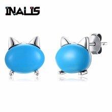 INALIS новые стильные серьги-гвоздики ювелирные изделия из стерлингового серебра 925 пробы в форме кошки Синий Бирюзовый Камень Brincos для женщин вечерние