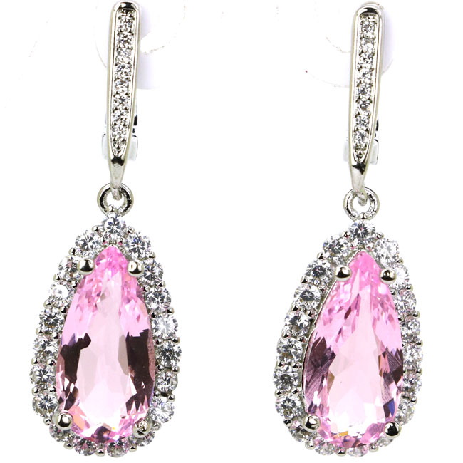 Ravishing Drop Shape Pink Kunzite White CZ 925 Silver Earrings 35x12mm