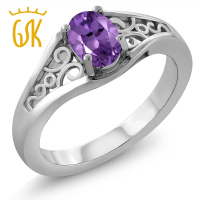 0 35 Ct Oval Purple Amethyst 925 Sterling Silver Ring
