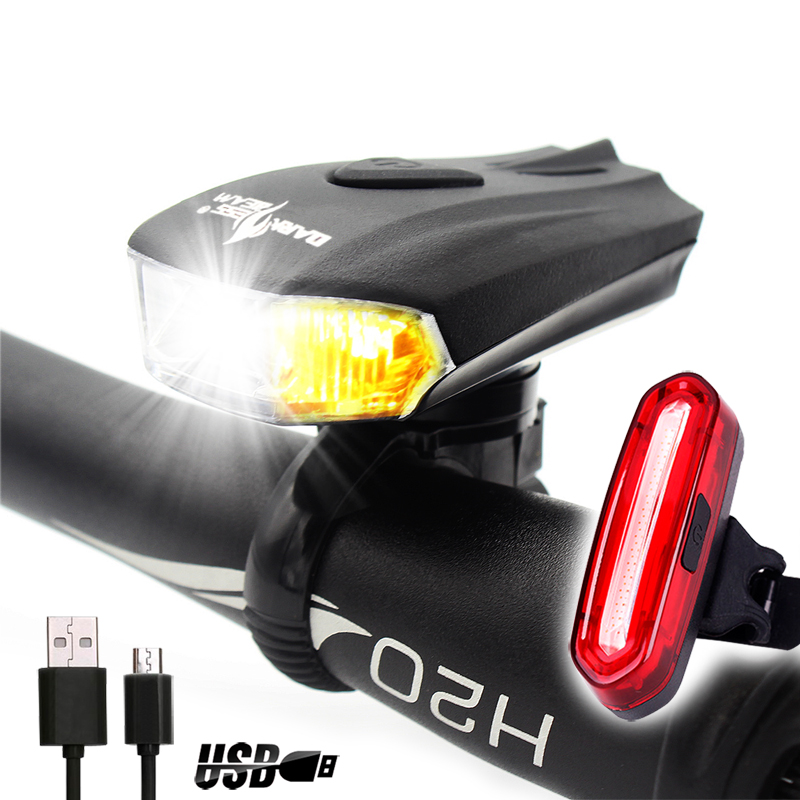 K2 Ultra Bright Bike Light Front And Back Usb Charge Led
