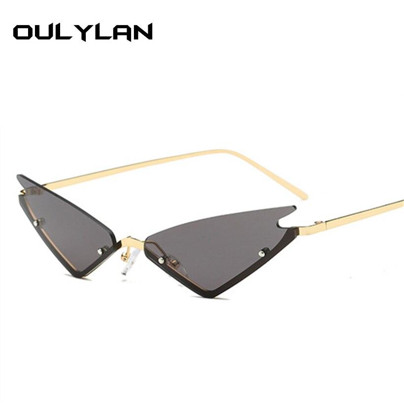 93efa01507a2f9 Oulyaln Cat Eye Zonnebril Vrouwen 2018 Luxe Merk Designer Vrouwelijke Zonnebril  Metalen Frame Spiegel Dames Shades