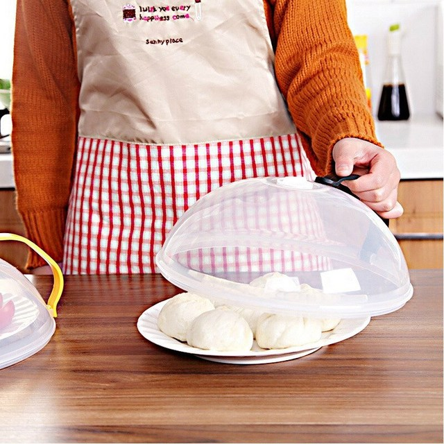 Plastic Microwave Food Cover Oven Oil Proof Cap Handled Lid Fridge Multifunctional Kitchen Tools Dishes Dustproof