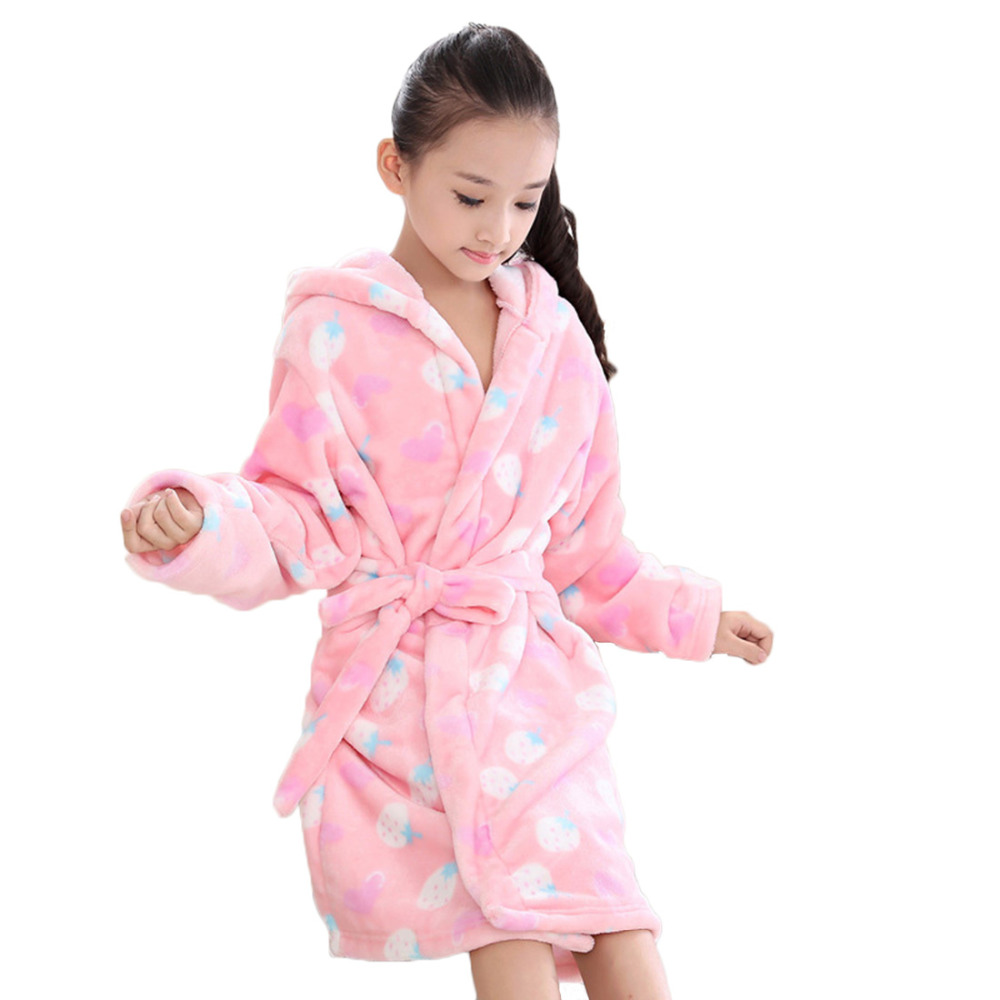 Autumn Winter Flannel Robe Bathrobes Kids Sleepwear Hooded Long Sleeves Robes Girls Paja ...