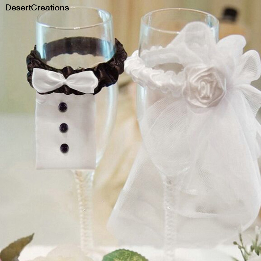 2Pcs/Set!!!!!  2018 Bridal Veil Bow Tie Bride & Groom Tux Bridal Veil Wedding Party Toasting Wine Glasses Decor Party Gifts-in Party DIY Decorations from Home & Garden on Aliexpress.com | Alibaba Group