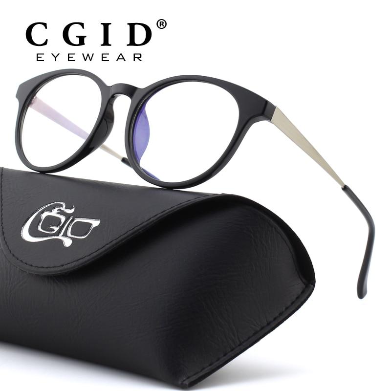 CGID TR90 ordinateur lunettes Anti lumière bleue Radiation optique impression lunettes rondes lunettes noires cadre PC verre hommes et femmes CT28