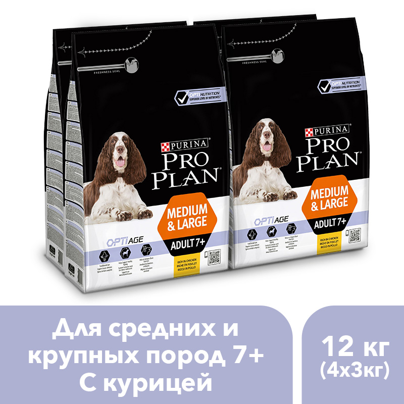 Pro Plan dry food for adult dogs over 7 years old of medium and large breeds with OPTIAGE complex with chicken and rice, 12 kg. dry food pro plan duo delice for adult dogs with chicken and rice 10 kg