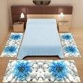 Набор из 3 предметов: белые камушки  синие большие цветы  3d принт  нескользящая микрофибра  моющийся декор  ковер для спальни