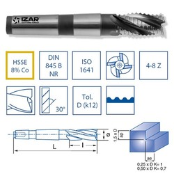 IZAR 45968-stożek truskawkowy zgrubny hsse8 % DIN845b-n NZ 14.00mm