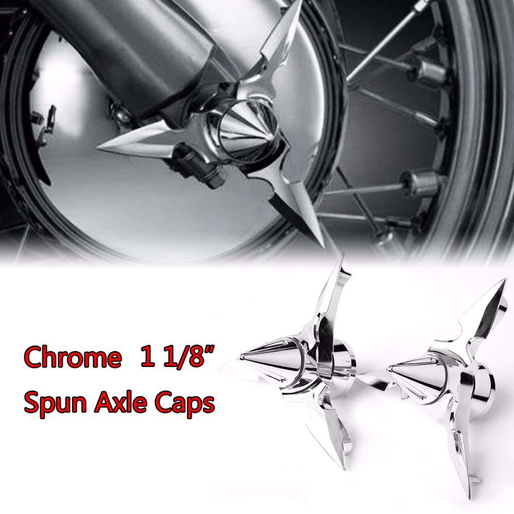 Chrome Spun Blade Spinning Front Axle Cap Nut Cover For Harley 2008-2017 Touring Softail Dyna Sportster 883 1200Chrome Spun Blade Spinning Front Axle Cap Nut Cover For Harley 2008-2017 Touring Softail Dyna Sportster 883 1200
