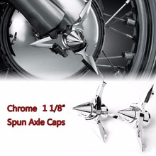 Chrome Spun Blade Spinning Front Axle Cap Nut Cover For Harley 2008 2017 Touring Softail Dyna Sportster 883 1200