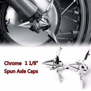 Image 1 - Chrome Spun Blade Spinning Front Axle Cap Nut Cover For Harley 2008 2017 Touring Softail Dyna Sportster 883 1200