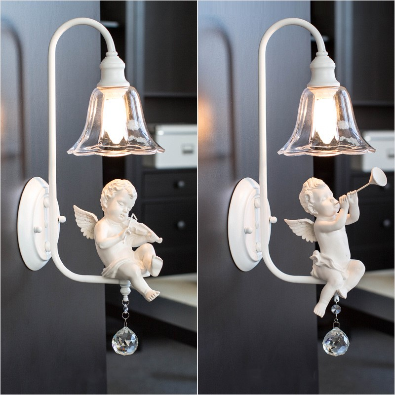 Northern Europe Creative Art Concise Little Angel Wall Light Restaurant Cafe Aisle Livingroom Decoration Lamp Free Shipping стоимость