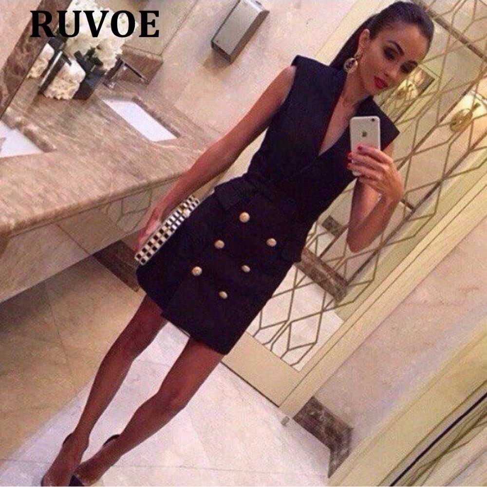 New 2018 Autumn fashion New Women Slim Sleeveless Buttons Casual Bodycon Cocktail Mini Dress black V neck Club Party vestidos