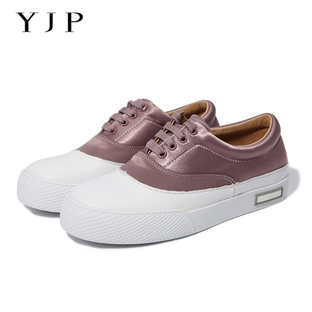 YJP Women Vulcanize Shoes, Black/Pink/Green Satin Sewing Round Toe Flat Shoes, Soft Genuine Leather Thick Bottom Casual Sneakers
