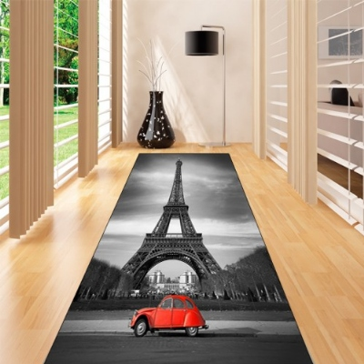 Else Black Gray Vintage Eiffel Tower Paris 3d Print Non Slip Microfiber Washable Long Runner Mat Floor Mat Rugs Hallway Carpets