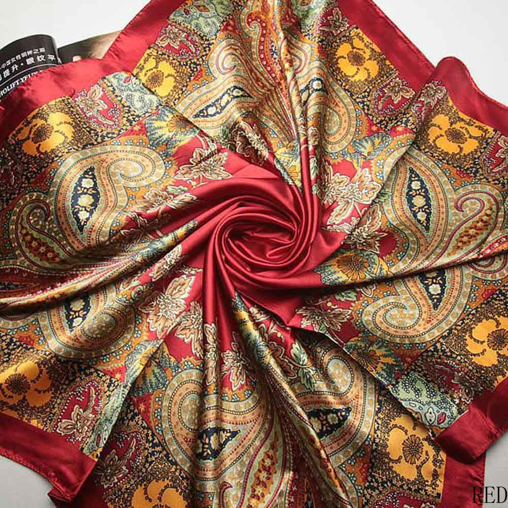 <font><b>90</b></font> * 90cm 2018 New Elegant Classical Printing Waist Flowers Silk Scarves Reto Fashion Large Square Towel Spring Cashew Scarf image