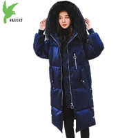 New Women Winter Gold Velvet Down Cotton Jackets Warm Coats Hooded Parkas Plus Size Thick Fur
