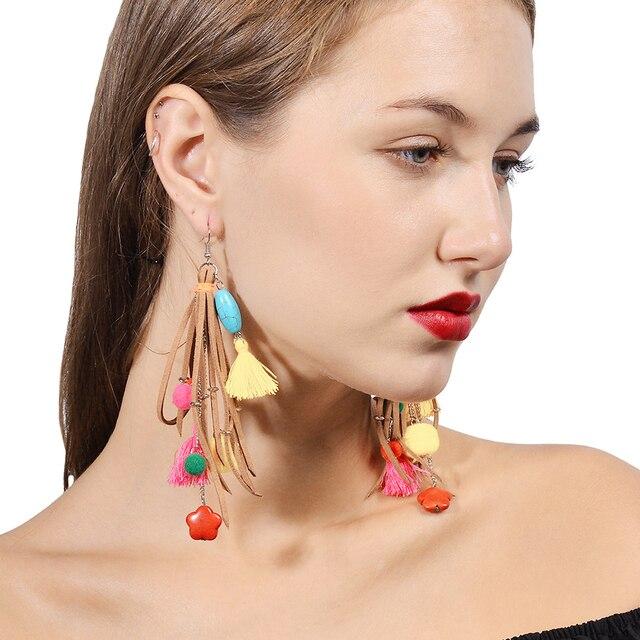 Multicolor Shoulder Duster Earrings Tel Pom Flower Statement Jewelry