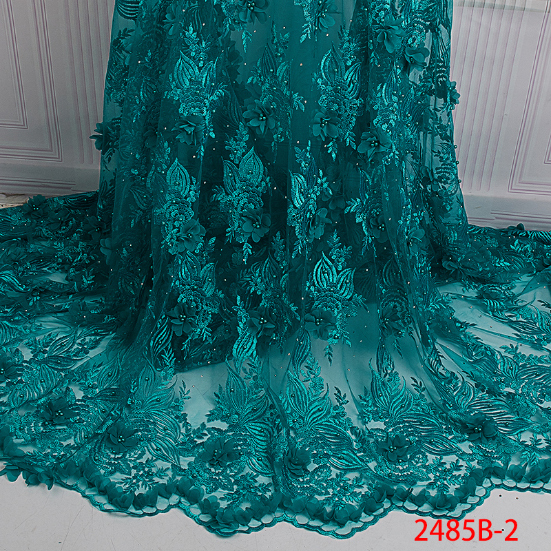2019 haute qualité 3D fleurs dentelle tissu africain Tulle dentelle tissu avec perles français dentelle tissus pour robe de mariée APW2485B 1-in Dentelle from Maison & Animalerie    2