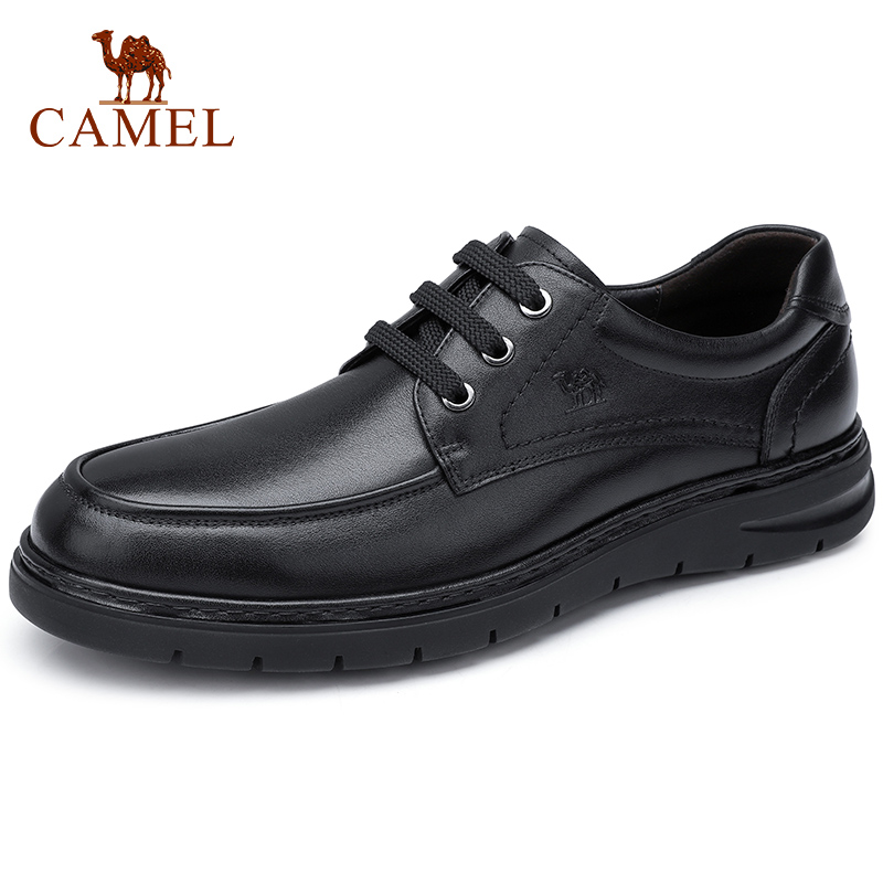CAMEL Winter Shoes Men's Genuine Leather Lace-up Men  Business Casual Shoes British Luster Elastic Dad shoes