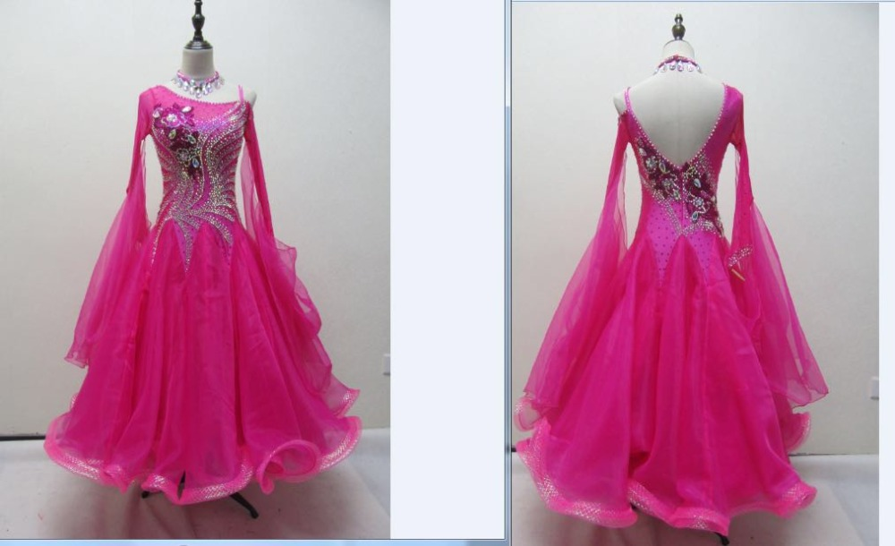 NEW Latin Ballroom Dance Dress Modern Salsa Waltz Standard Long Dress#MD002