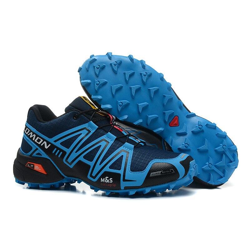 Salomon Speed Cross 3 CS III Men Sneakers Durable Dark blue jad Running Shoes Breathable Flats Shoes Trainers Footwear 40-46