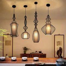 Vintage Iron Black Pendant Light Cage Lampshade Hanging Lamps E27 Droplight Retro Bar Kitchen Light Fixtures