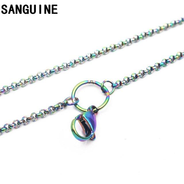 Gorąca sprzedaż 1 sztuk 80 cm łańcuchy ze stali nierdzewnej Rainbow Rolo duży karabińczyk naszyjnik łańcuch dla kobiet długi naszyjnik biżuteria, dzięki czemu