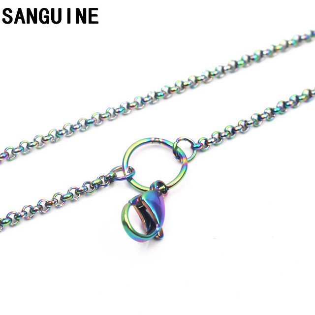 Hot Sale 1pcs 80cm Stainless Steel Chains Rainbow Rolo Big Lobster Clasp Chain Necklace For Women Long Necklace Jewelry Making