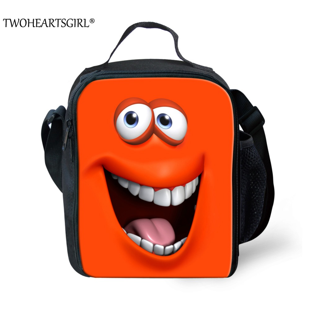 TWOHEARTSGIRL 3D Printing Emoji Mini Portable Lunch Bag for Girls Thermal Insulated Picnic Lunch Box Kids School Lunch Food Bag