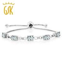 5 50 Ct Sky Aquamarine Diamond 925 Sterling Silver Adjustable Tennis Bracelet