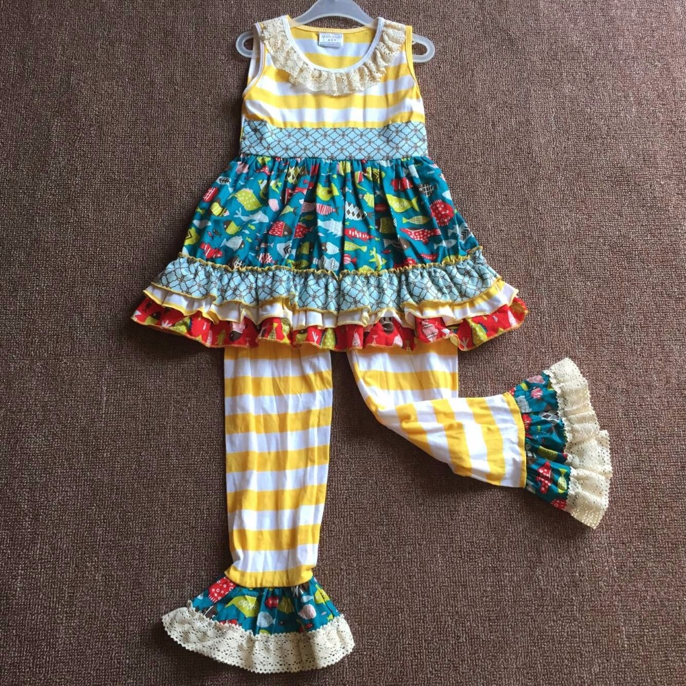Unique Design Sleeveless Yellow Stripe Fish Print Ruffles Pants Lace Trim On Neckline Cute Apparel Infant Clthing Baby Girl Sets grey lace details floral print v neck sleeveless pajamas sets