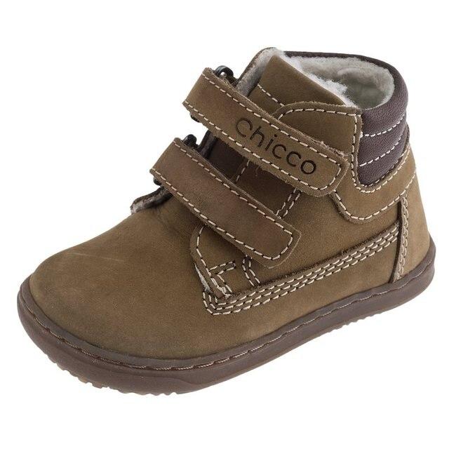 Ботинки на липучке из натуральной кожи Chicco, размер 210, цвет коричневый