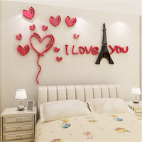 Romantic Paris Tower Acrylic 3D Three dimensional wall sticker Living Room Sofa Background Kids Room Decor Wall Stickers Decals