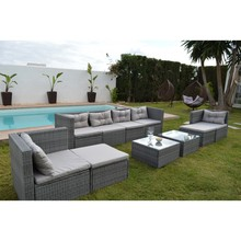 KieferGarden. Sofa Terraza esquina, 6  modulos sofa central, 2 taburetes,2 mesas. SAN FRANCISCO DELUXE. sofas jardin esquinas.