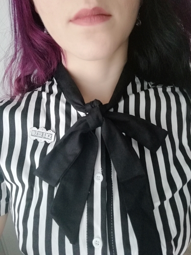 Rosetic Vintage Stripe Midi Dress Women Summer 50S Bow Collar Elegant Office Casual Stylish Goth Ladies Retro Rockabilly Dresses photo review