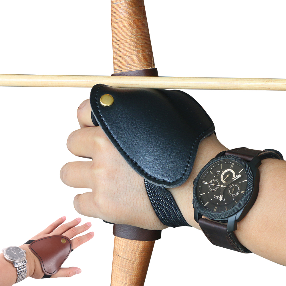 Mini Left Hand Guard Finger Protector Safety Archery Shooting Hunting Compound Recurve Bow Arrow Brown Black Cow Portable Guard