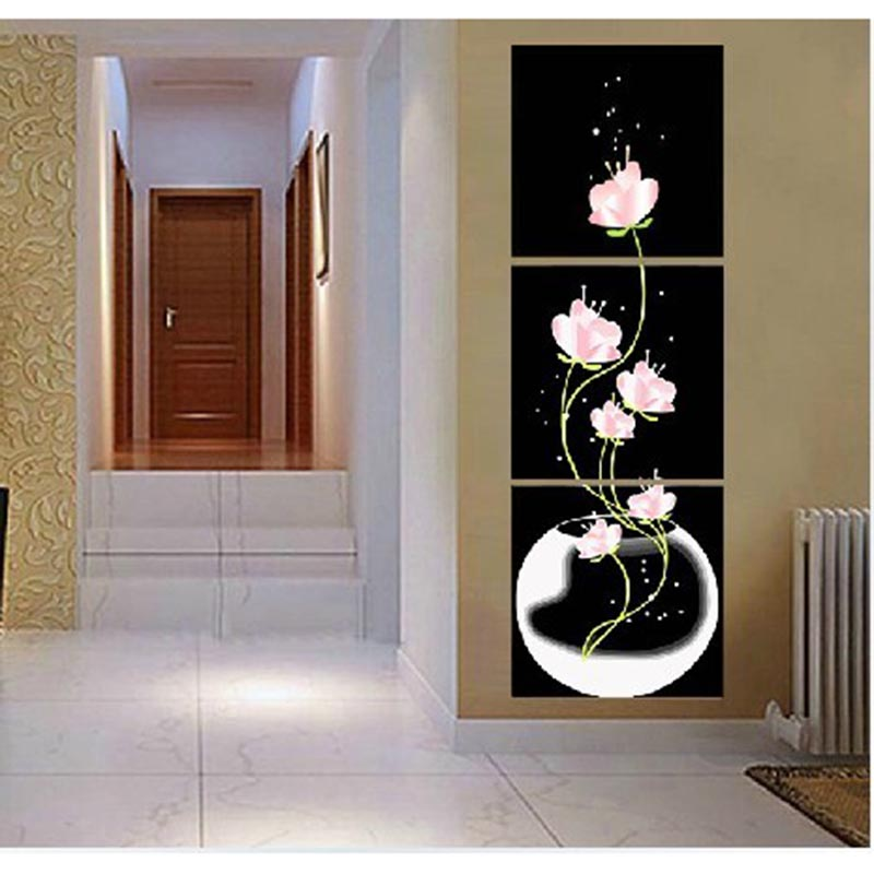 50X50CMX3pc home decor Hand painted canvas Triptych oil paintings wall pictures for living roomLotus water illustration