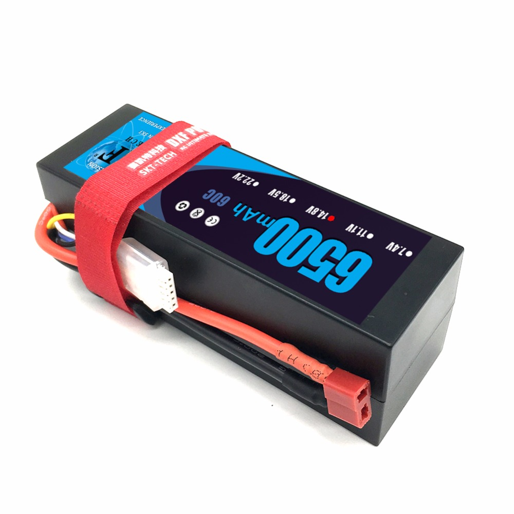 DXF Lipo 4s Battery 14.8V 6500mAh 60C MAX 120C Hard Case For 1:8 1:10 RC Car E Buggy Truggy TRX Car image